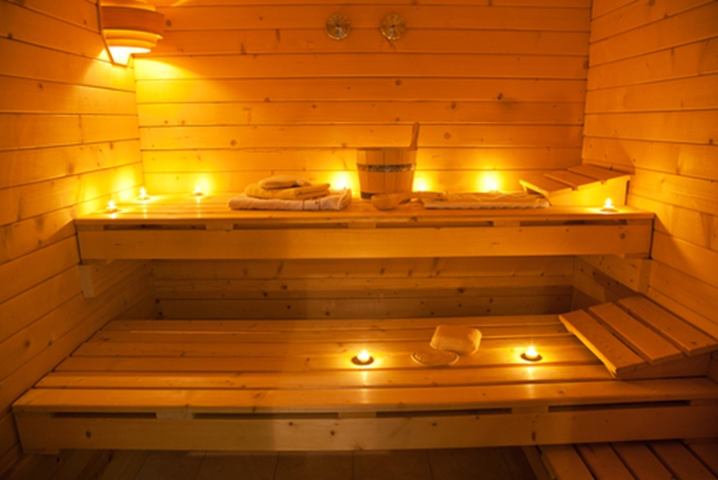 An infrared sauna uses light therapy